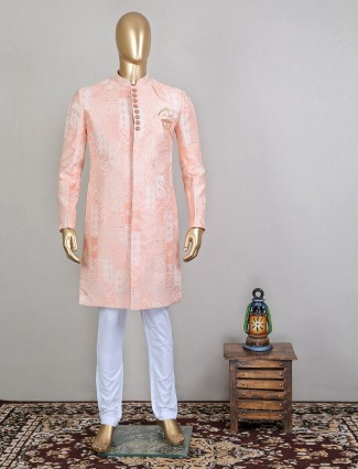 Clasic peach silk sherwani for groom