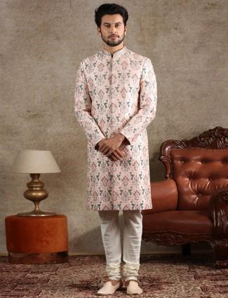 Clasic pink raw silk sherwani