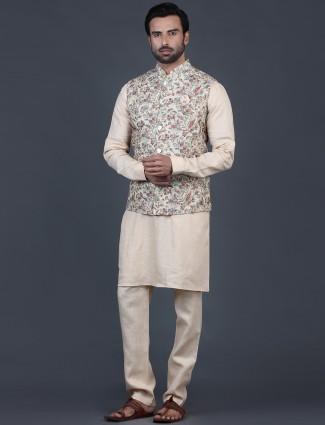 Classic beige cotton silk mens waistcoat set
