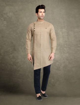 Classic beige cotton solid bandhgala kurta suit