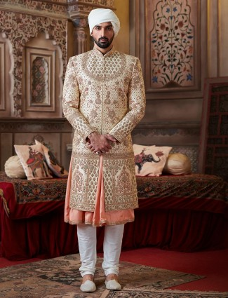 Classic beige double layer raw silk sherwani