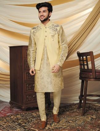 Classic beige raw silk waistcoat set