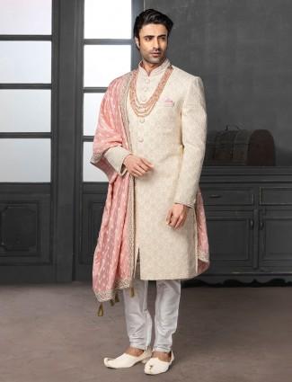 Classic cream silk lakhnavi thread style sherwani set