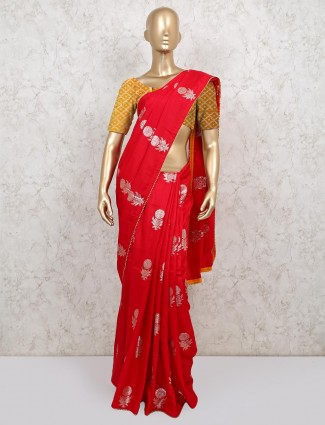 Classic red dola silk saree for weddings