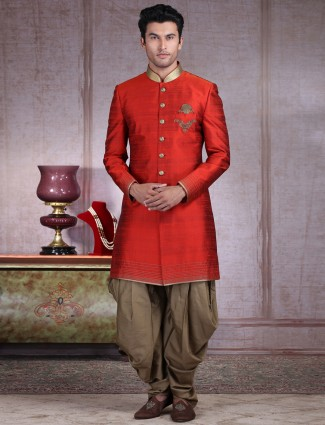 Classic red solid raw silk indo western for wedding