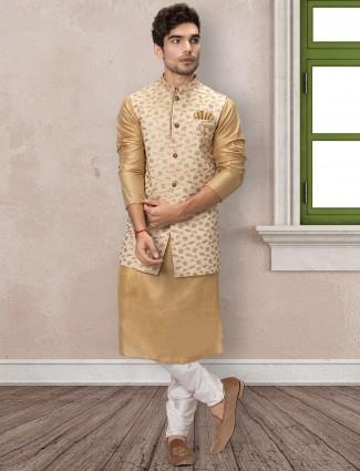 Classy beige silk waistcoat set for men