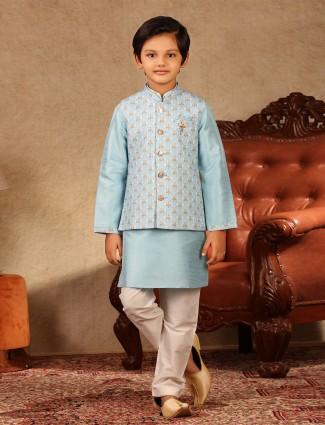 Classy blue raw silk boys waistcoat set