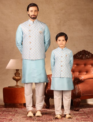 Classy blue raw silk father and son matching waistcoat set