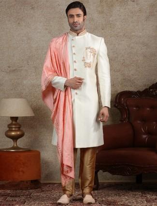 Classy cream silk mens indo western