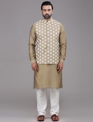 Classy dark beige chanderi cotton waistcoat set
