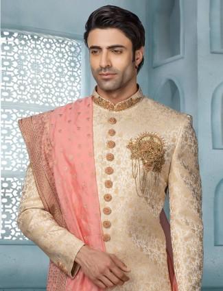 Classy gold sherwani in silk