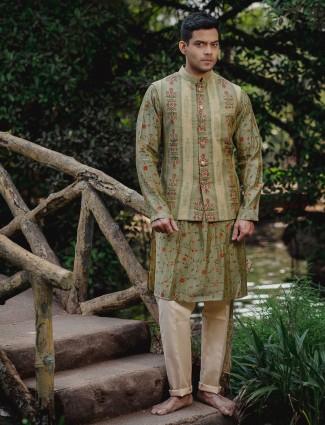 Classy green cotton silk waistcoat set