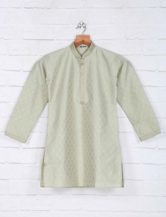Classy green hue cotton kurta suit