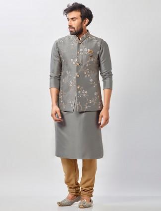 Classy grey raw silk waistcoat set for men