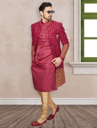 Classy maroon silk indo western
