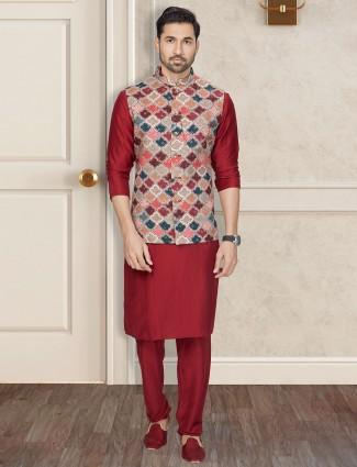 Classy maroon silk waistcoat set for men