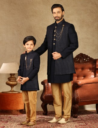Classy navy raw silk father and son concept indo western