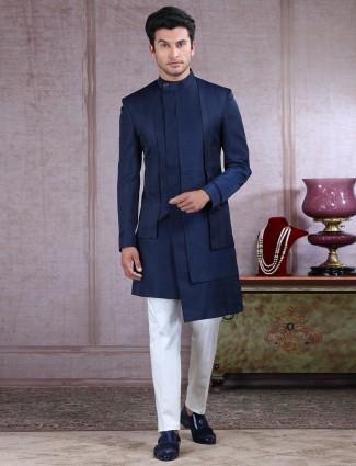 Classy navy raw silk layer style indo western
