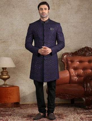 Classy navy silk mens indo western