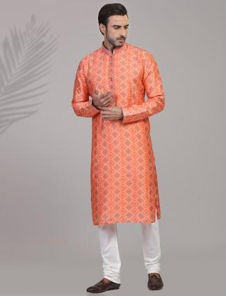 Classy orange bandhej printed silk kurta suit