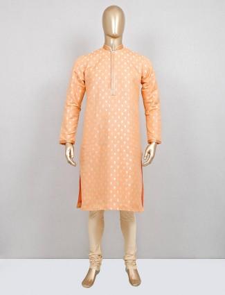 Classy peach cotton silk kurta suit