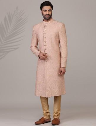 Classy pink raw silk embroidery sherwani
