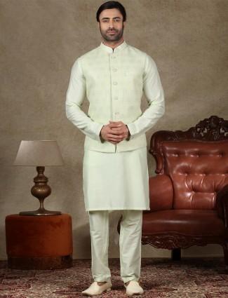 Classy pista green silk waistcoat set for men