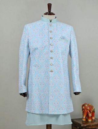 Classy skyblue silk mens indo western