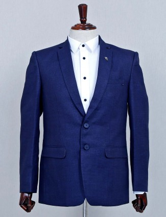 Classy solid navy terry rayon fabric mens blazer