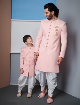 Classy solid pink raw silk father & son indo western