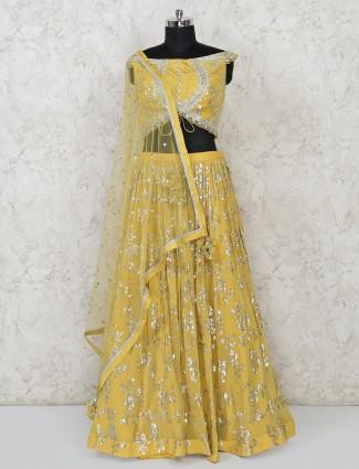 Classy yellow georgette wedding lehenga choli