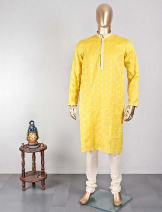 Classy yellow kurta suit in cotton