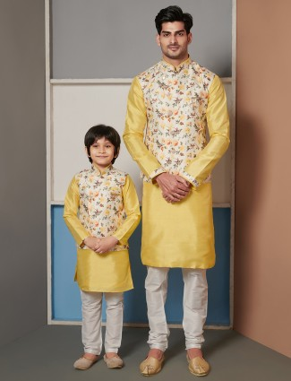 Classy yellow raw silk father-son waistcoat set