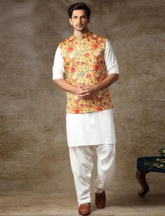 Classy yellow silk waistcoat set for men