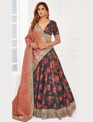 Cocoa brown reception wear lehenga choli in raw silk
