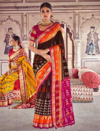 Cocoa brown wedding events saree in patola silk
