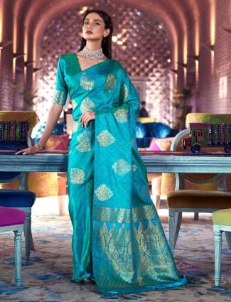 Conventional aqua jacquard silk saree for wedding occasions
