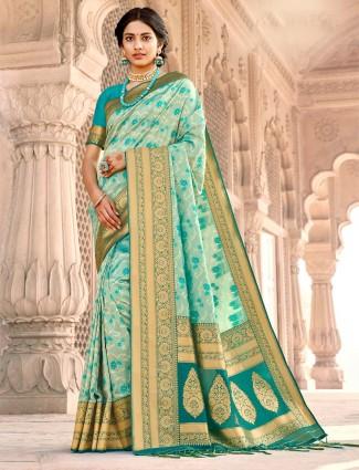 Conventional aqua banarasi silk saree for wedding session