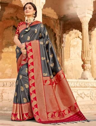 Conventional grey banarasi silk saree for wedding session