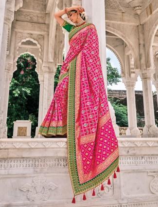 Conventional magenta patola silk wedding wear saree