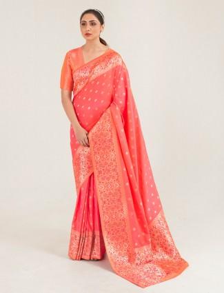 Conventional peach banarasi silk saree for wedding session