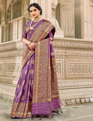 Conventional violet banarasi silk saree for wedding session