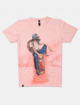 Cookyss casual wear peach printed mens t-shirt