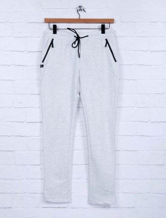 Cookyss light grey hue solid cotton track pant