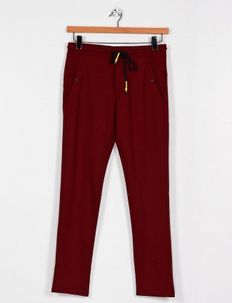Cookyss maroon narrow fit cotton track pant
