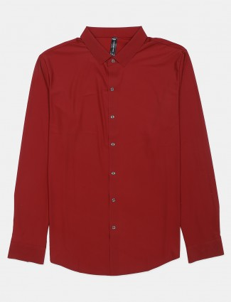 Cookyss maroon solid casual shirt in cotton