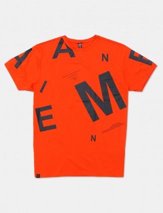 Cookyss orange printed cotton t-shirt