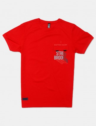 Cookyss printed red slim fit cotton mens t-shirt