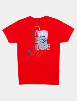 Cookyss printed red slim fit cotton t-shirt