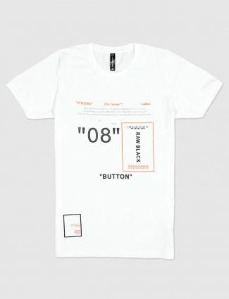 Cookyss printed white casual cotton t-shirt for men